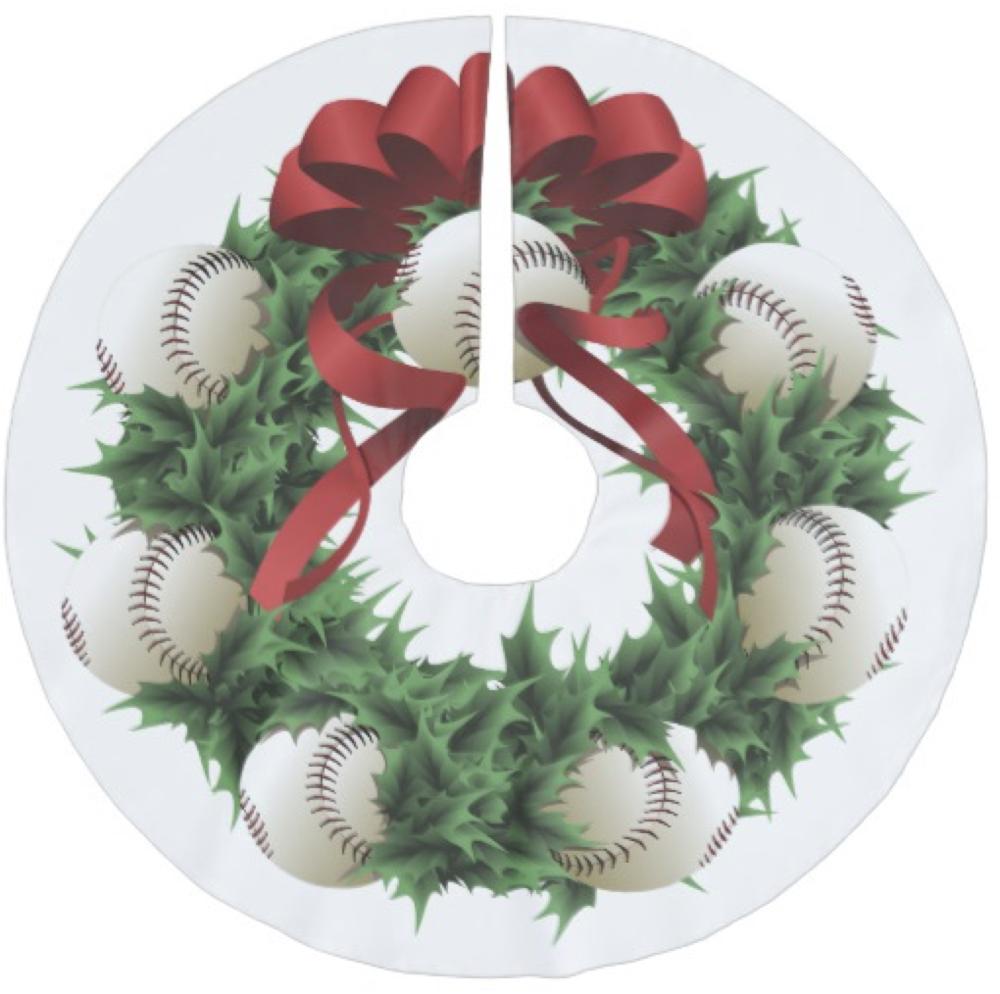 Baseball Wreath Christmas Tree Skirt