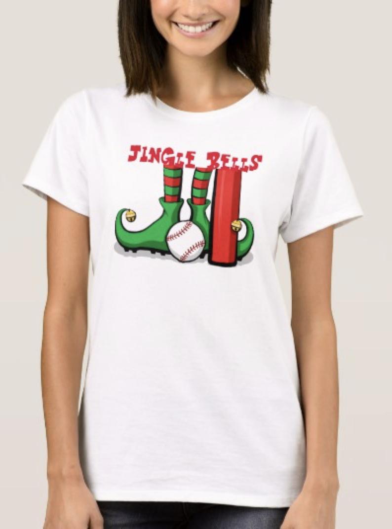 Basketball Christmas Elf Feet with Jingle Bells T-Shirt