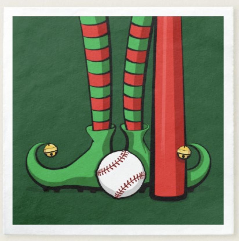 Baseball Christmas Elf Feet Paper Napkin
