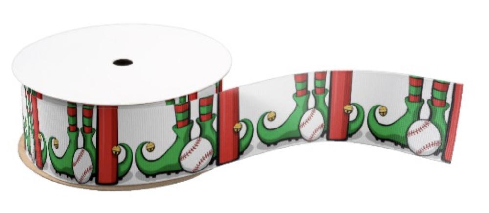 Christmas Baseball Elf Feet Grosgrain Ribbon