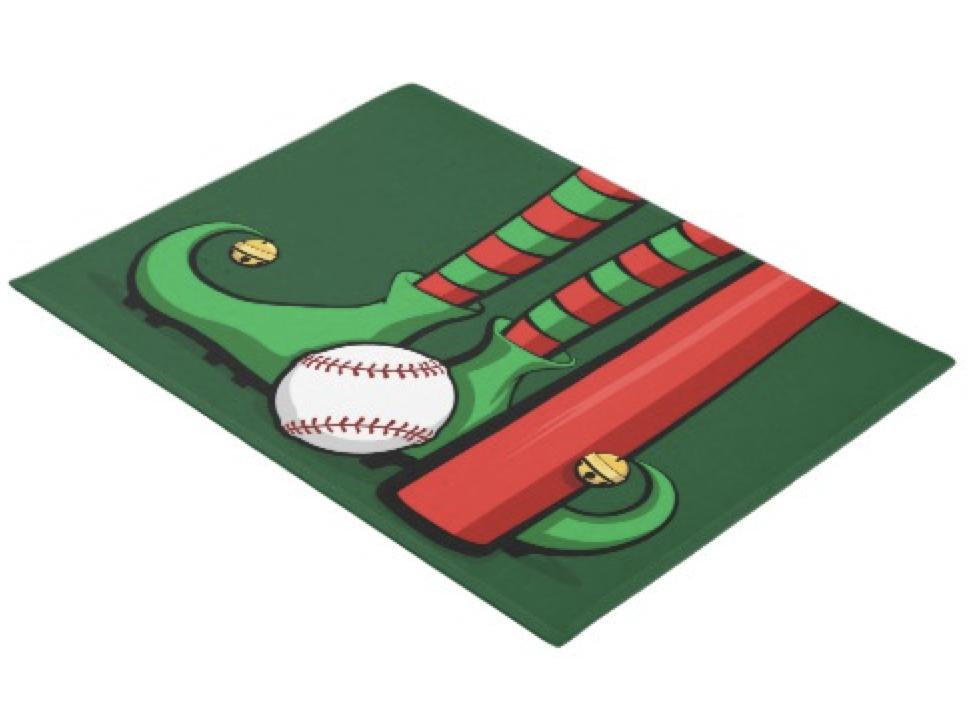 Baseball Christmas Elf Feet Doormat