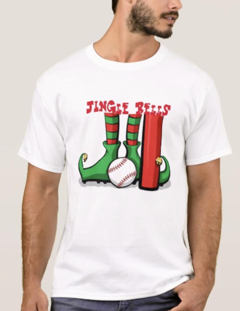 Baseball Christmas Elf Feet Jingle Bells T-Shirt