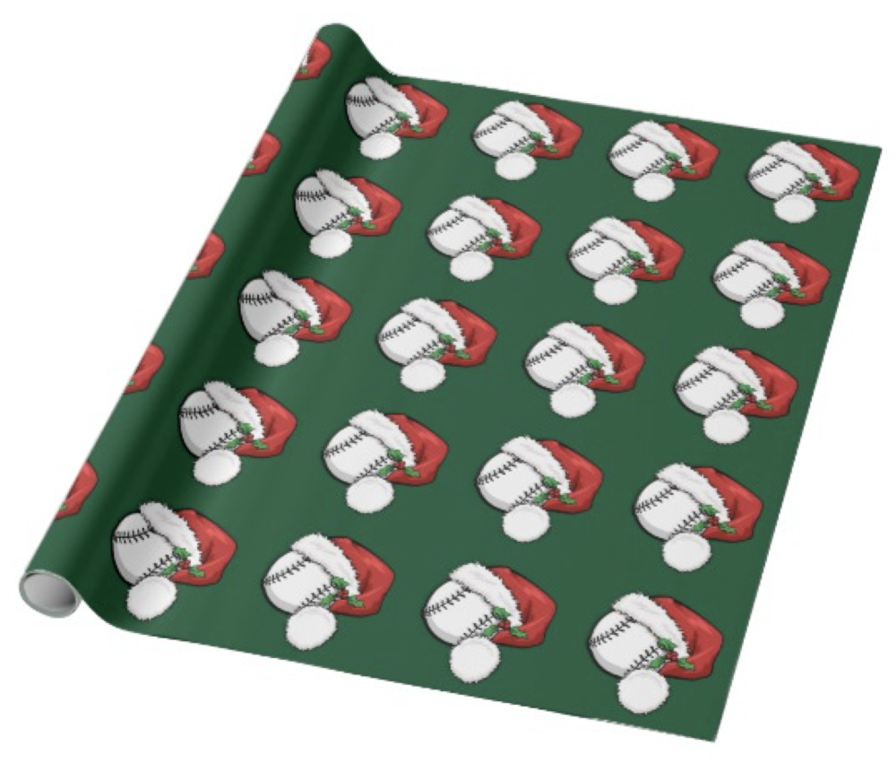 Baseball Santa Cap with Green Wrapping Paper
