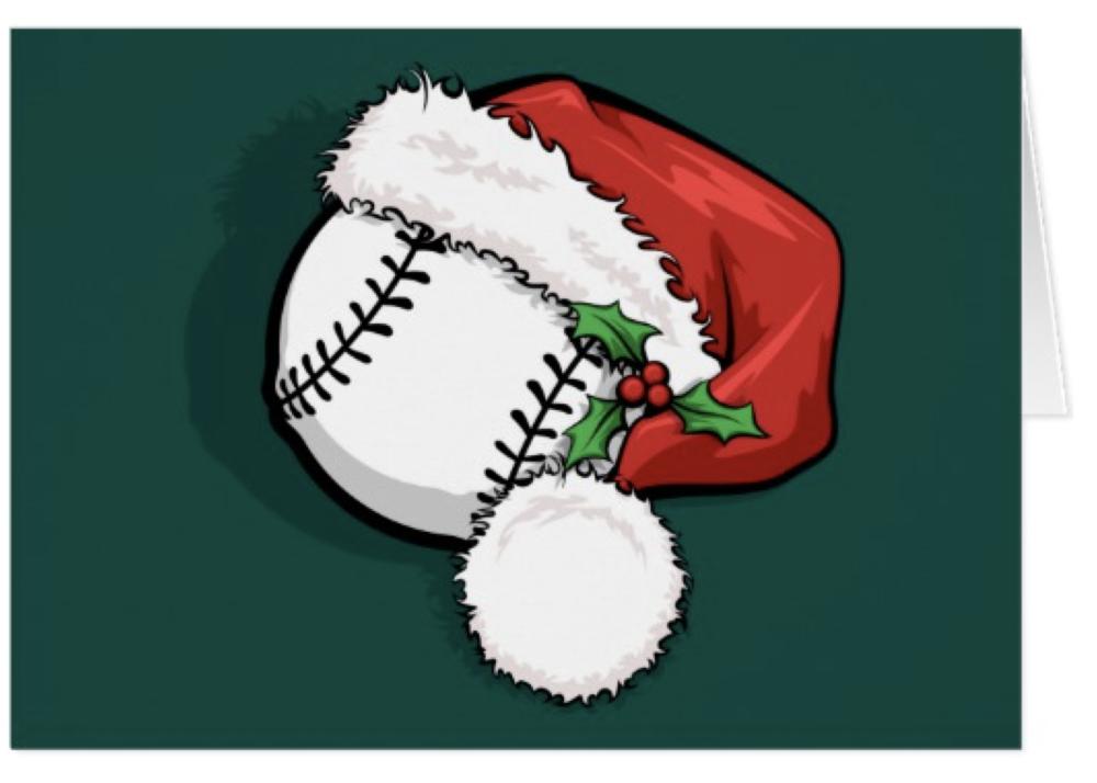 Baseball Santa Cap Christmas Card