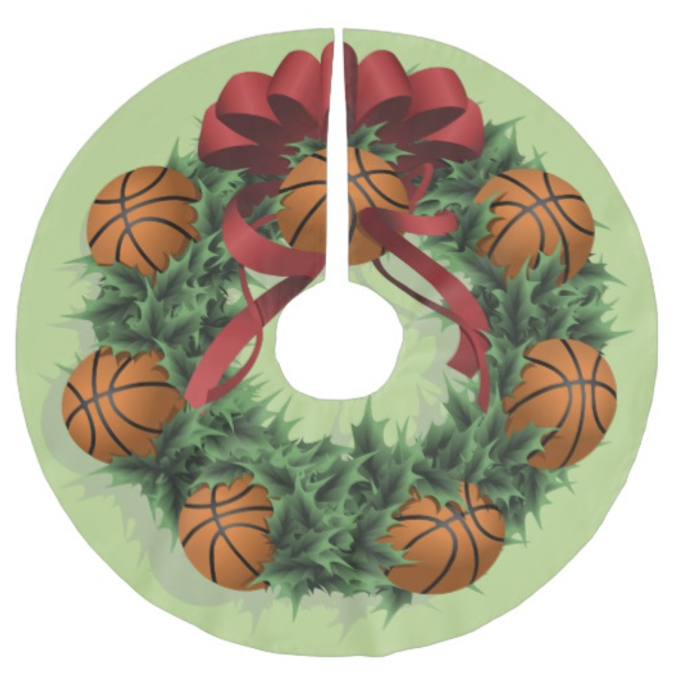 Basketball Christmas Wreath Brushed Polyester Tree Skirt