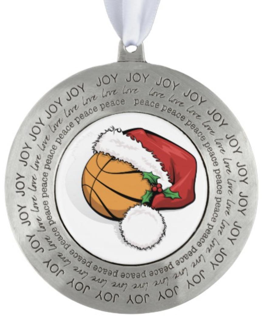 Christmas Basketball Santa Cap Pewter Ornament