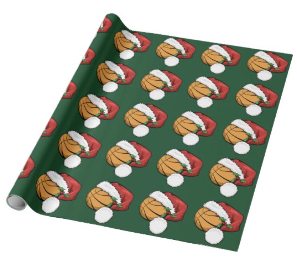 Basketball Santa Cap with Green Wrapping Paper