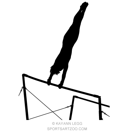 female gymnast silhouette uneven bars sportsartzoo