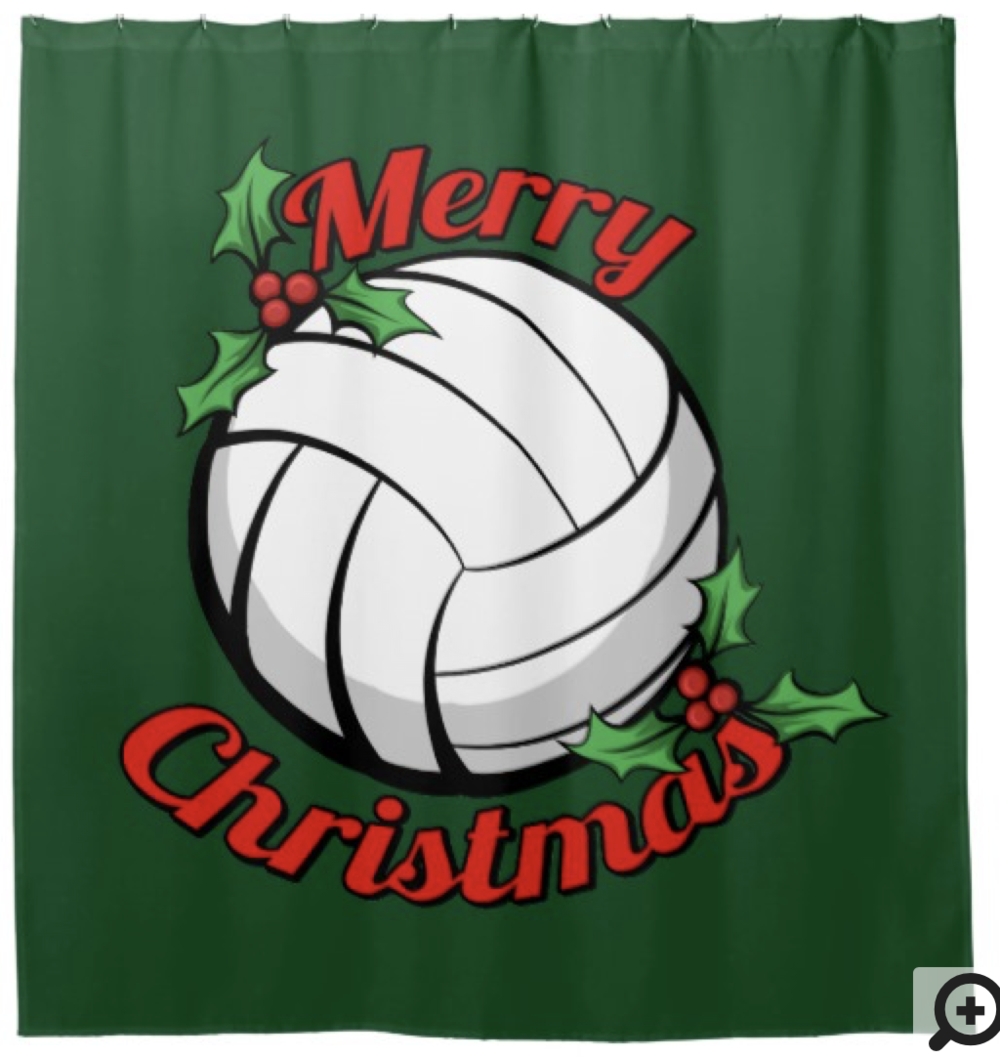 Merry Christmas Volleyball Shower Curtain