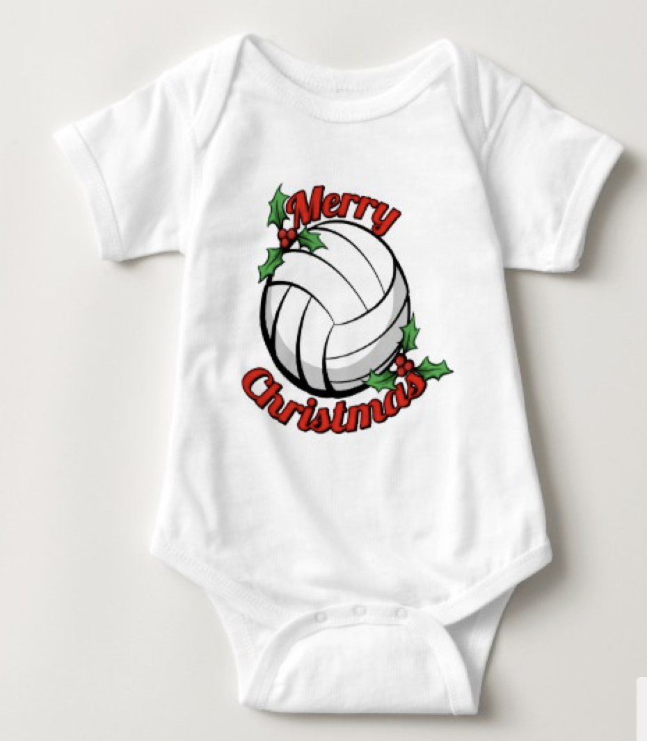 Volleyball Merry Christmas Baby Bodysuit