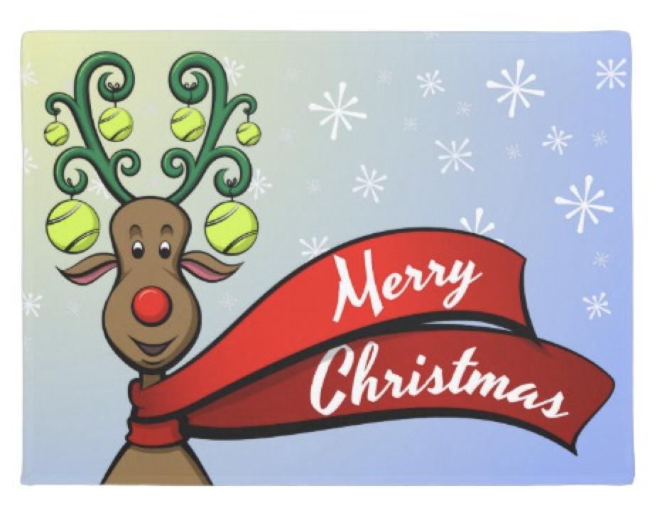 Tennis Christmas Reindeer Doormat