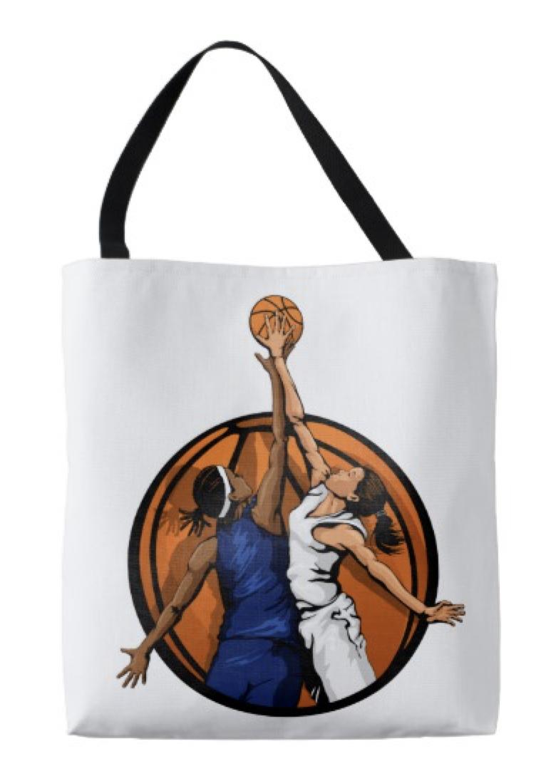 Girl Basketball Jump Ball Tote Bag