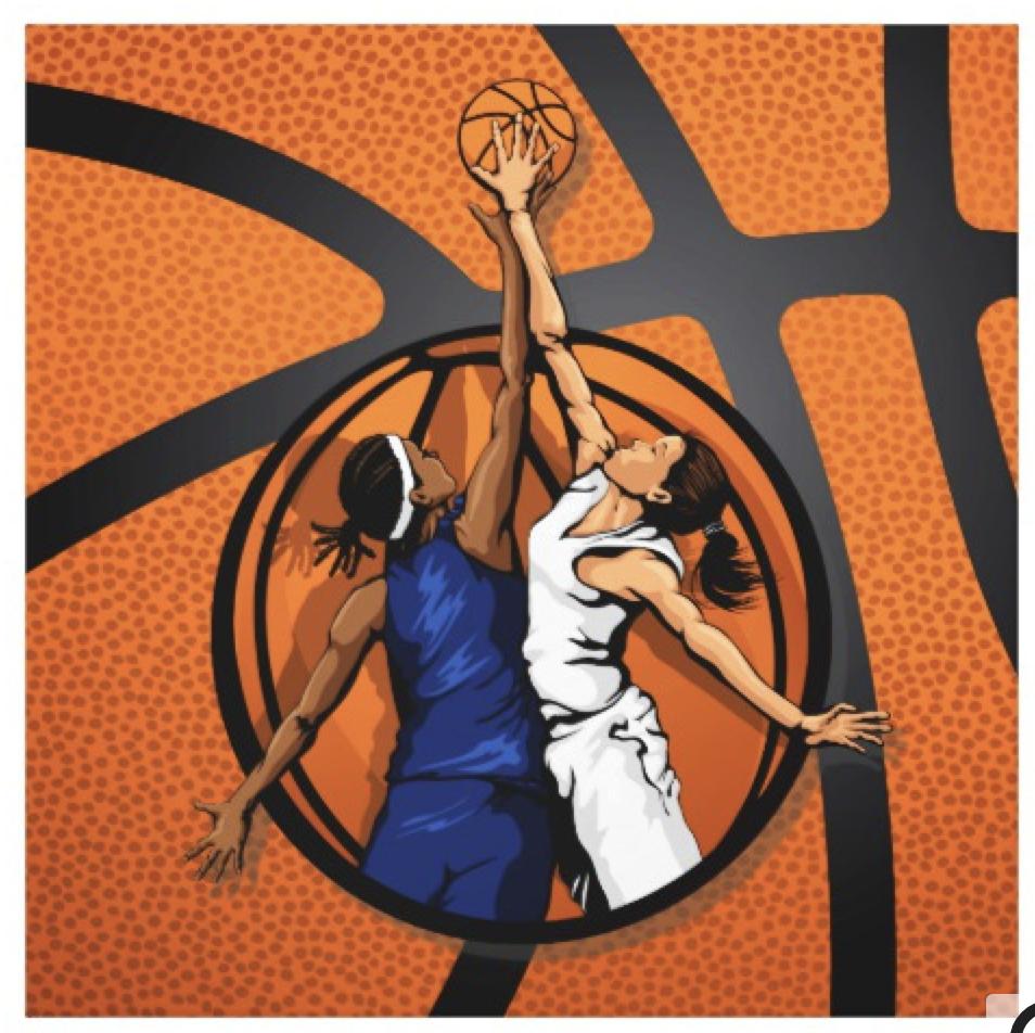 Basketball Girl's Jump Ball Canvas Print