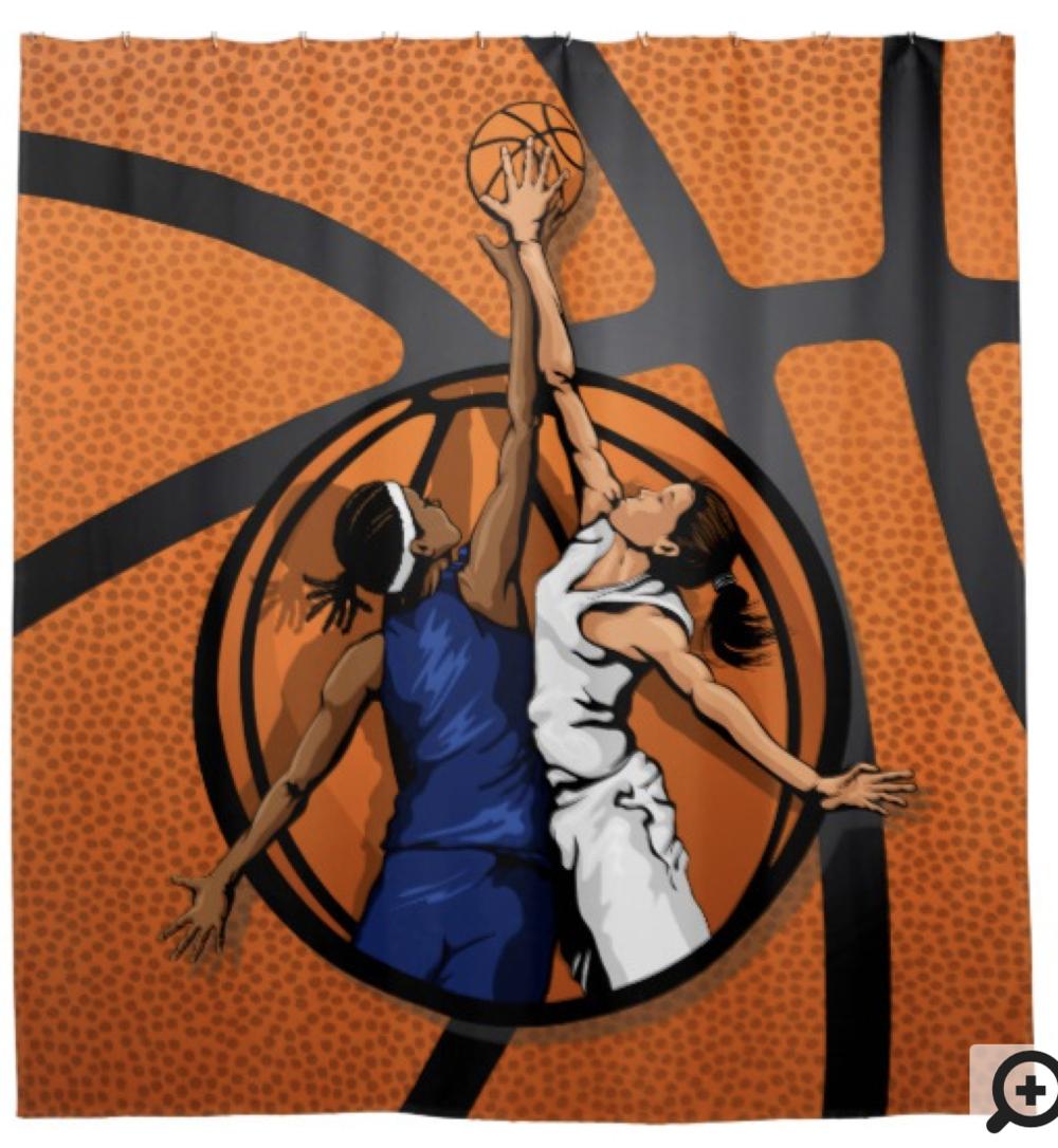 Basketball Girl's Jump Ball Shower Curtain