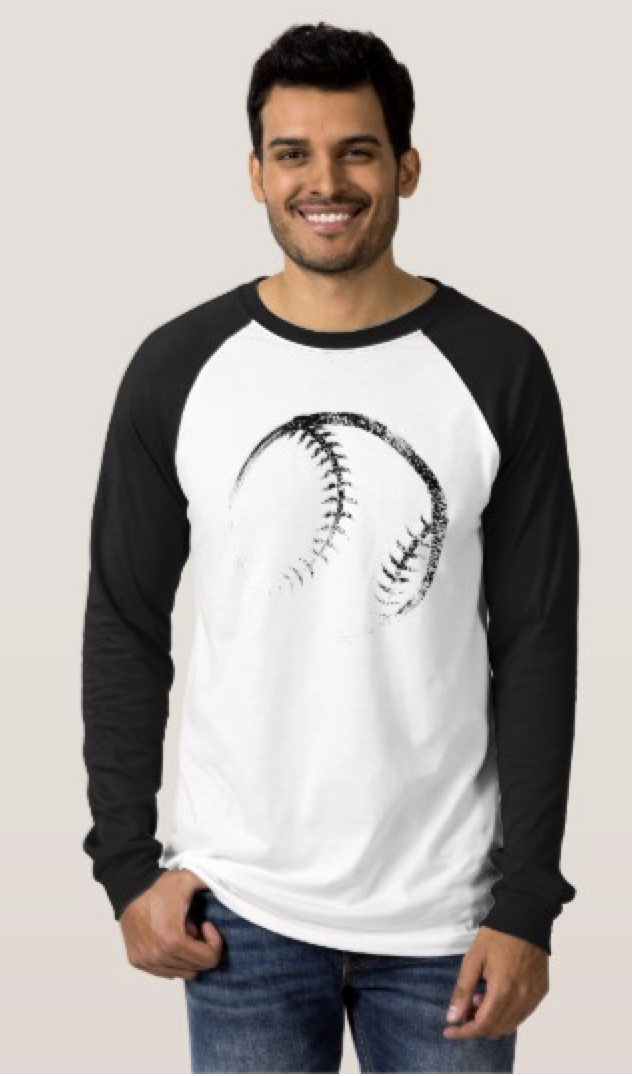 Grunge Style Baseball or Softball Design T-Shirt