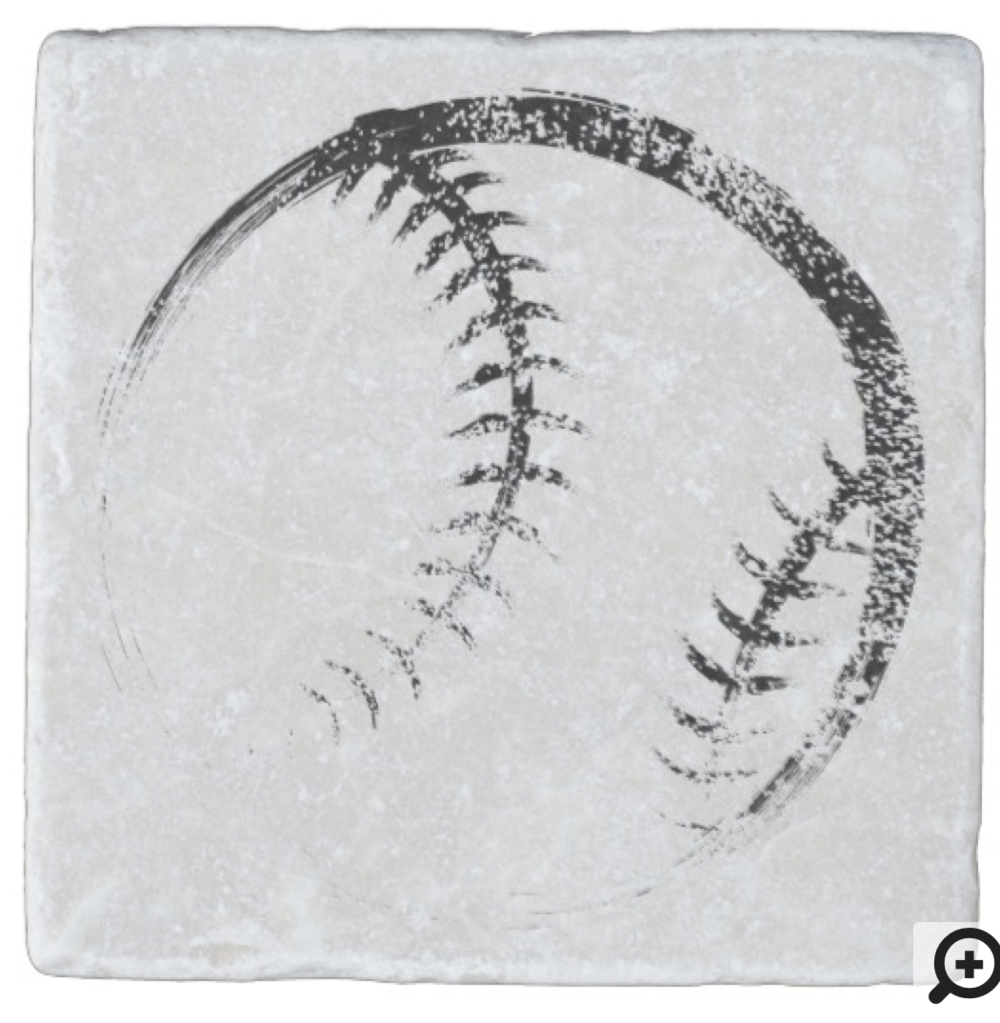 Grunge Style Baseball or Softball Design Stone Coaster