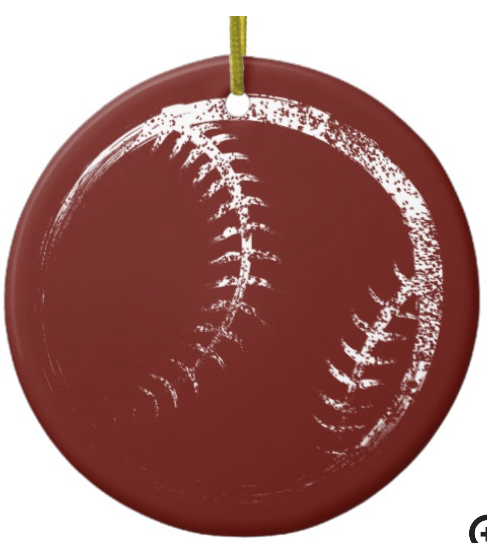 Grunge Style Baseball or Softball Design Ceramic Ornament