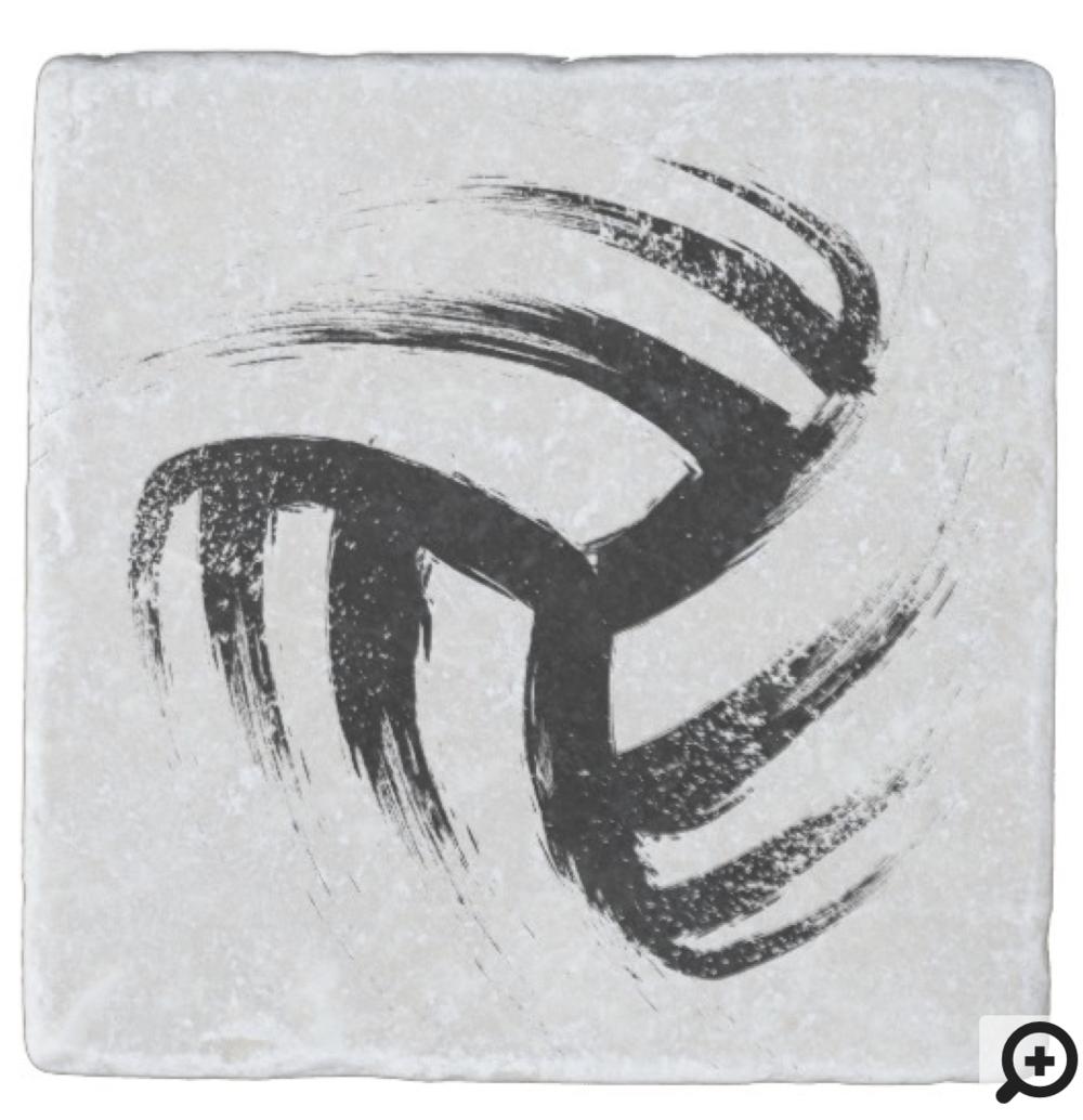 Grunge Style Volleyball Design Stone Coaster
