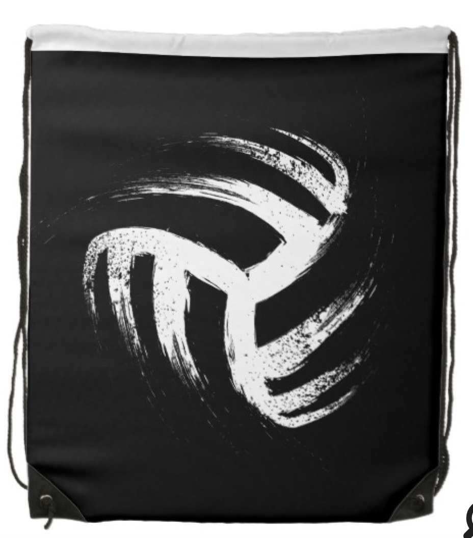 Grunge Style Volleyball Design Drawstring Backpack