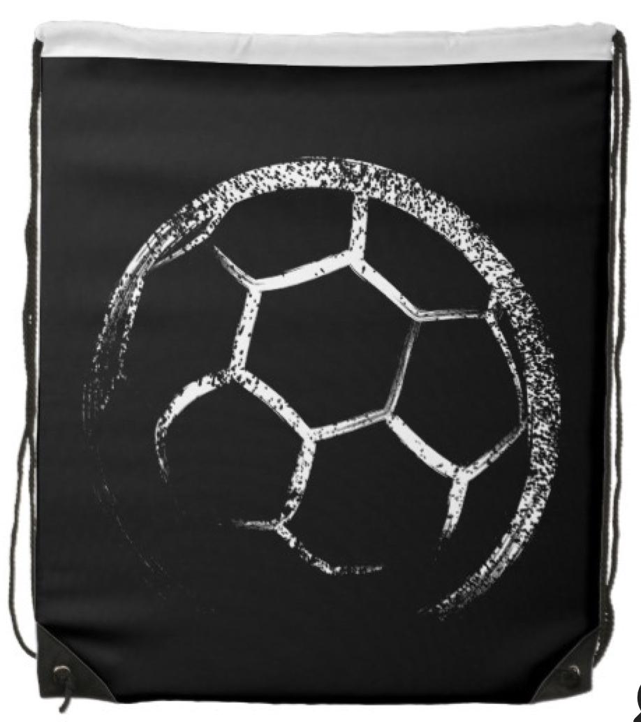 Grunge Style Soccer Design Drawstring Bag