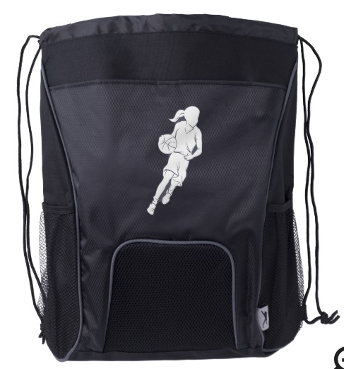 Basketball Girl Dribbling Drawstring Backpack