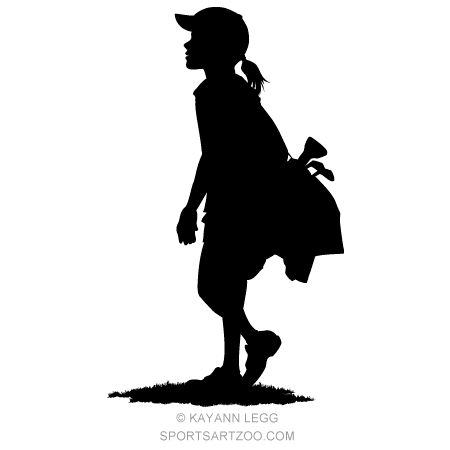 Girl Golfer With Golf Bag Silhouette Sportsartzoo