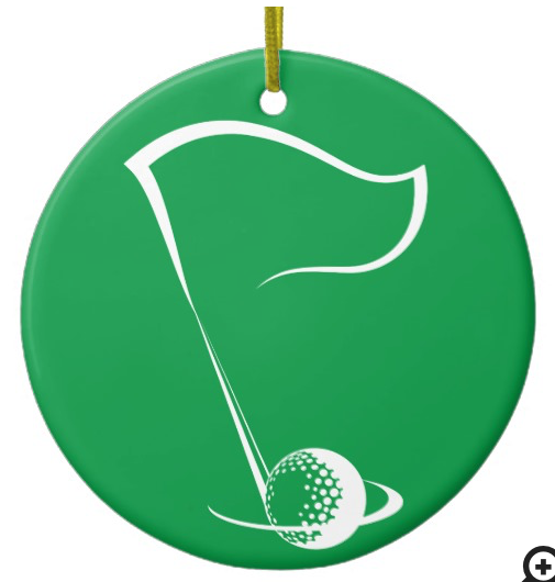 Golf Flag with Ball in Hole Ceramic Ornament