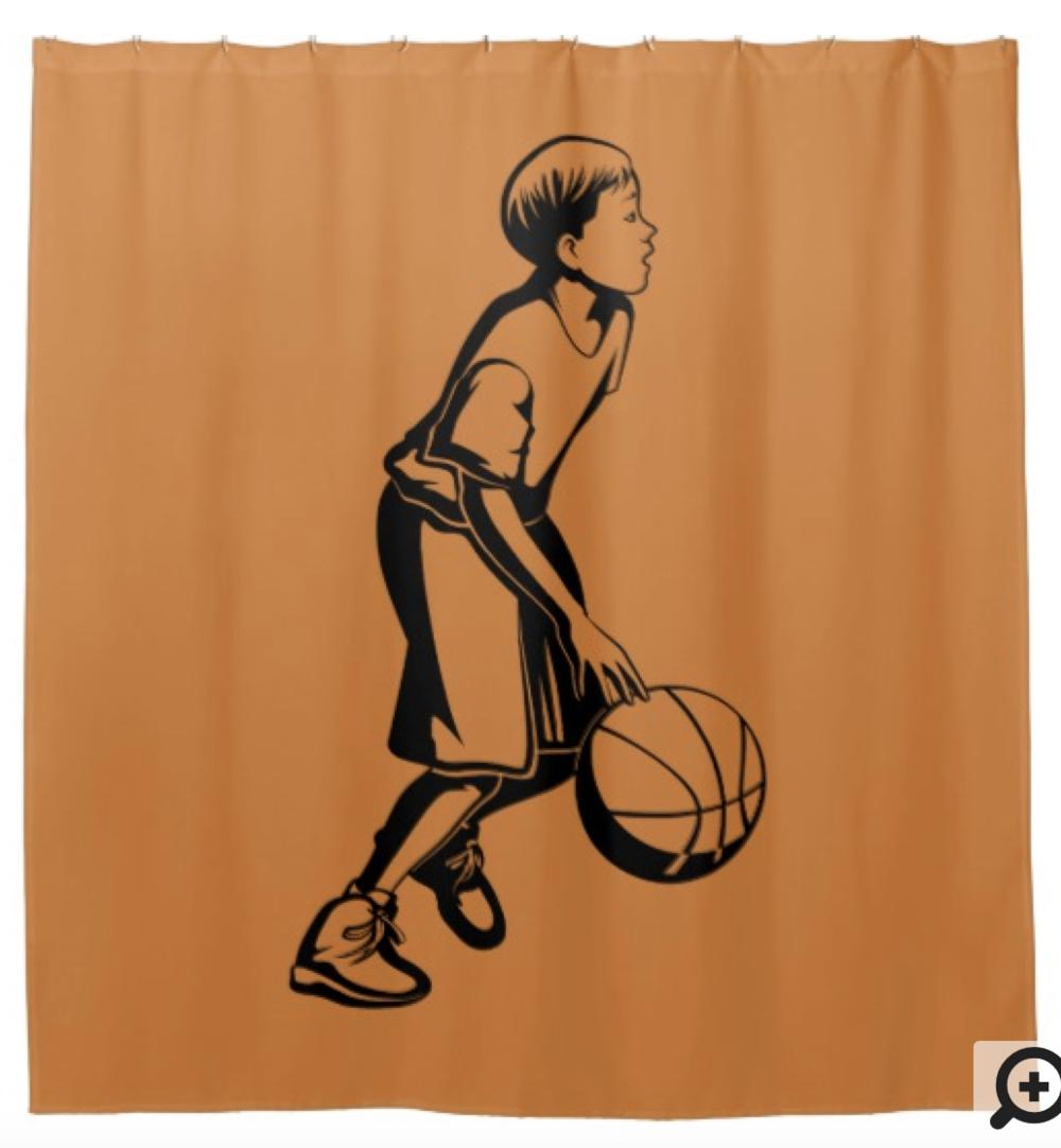 Boy Dribbling a Basketball Shower Curtain