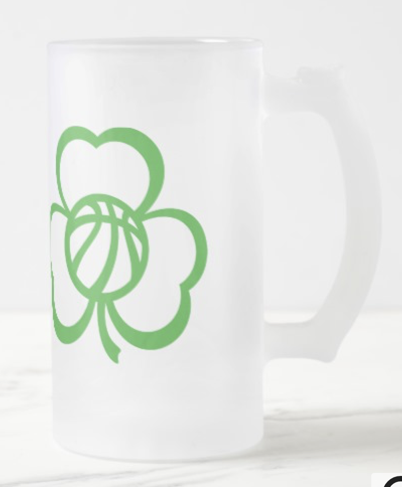 Basketball Three Leaf Clover for St. Patrick's Day Frosted Glass Beer Mug