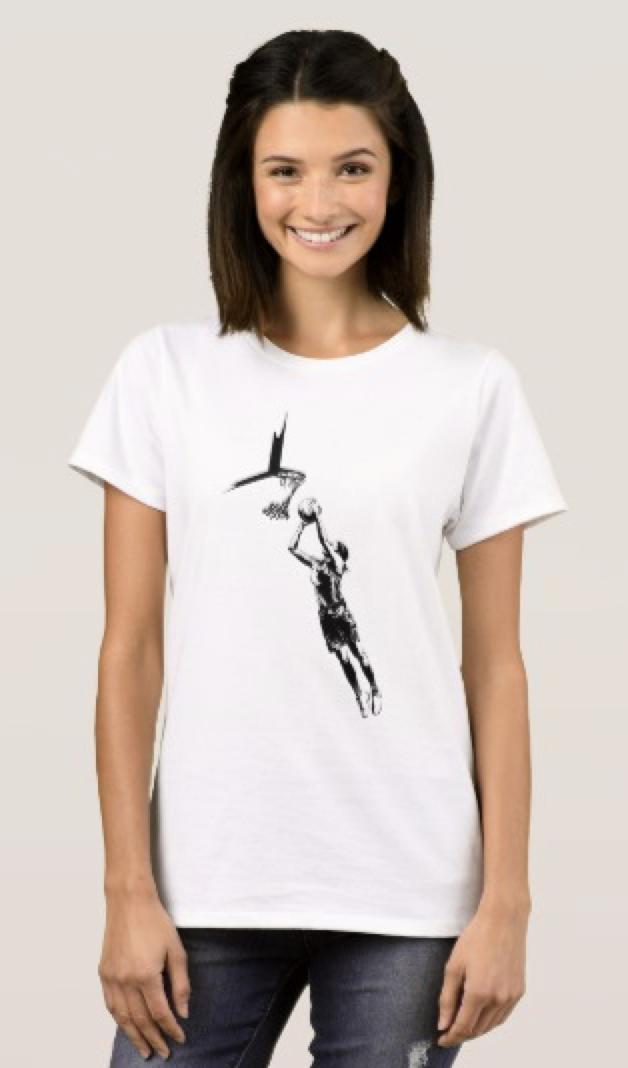 Highlighted Female Basketball Silhouette T-Shirt