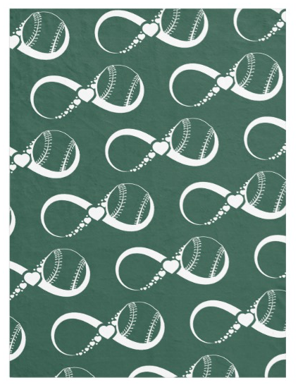 Green Softball or Baseball Love Fleece Blanket