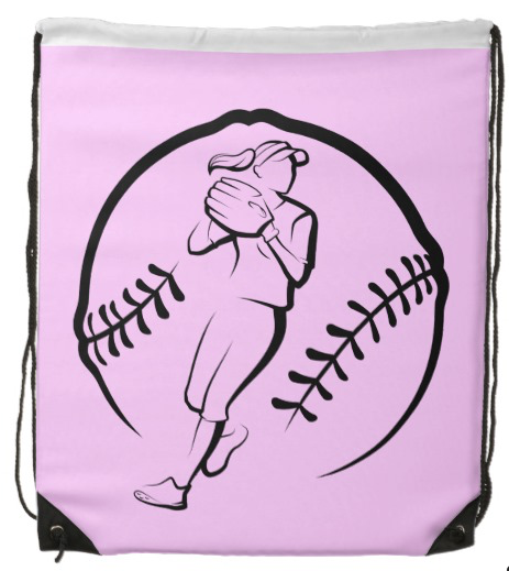 Softball Player Throwing Drawstring Backpack