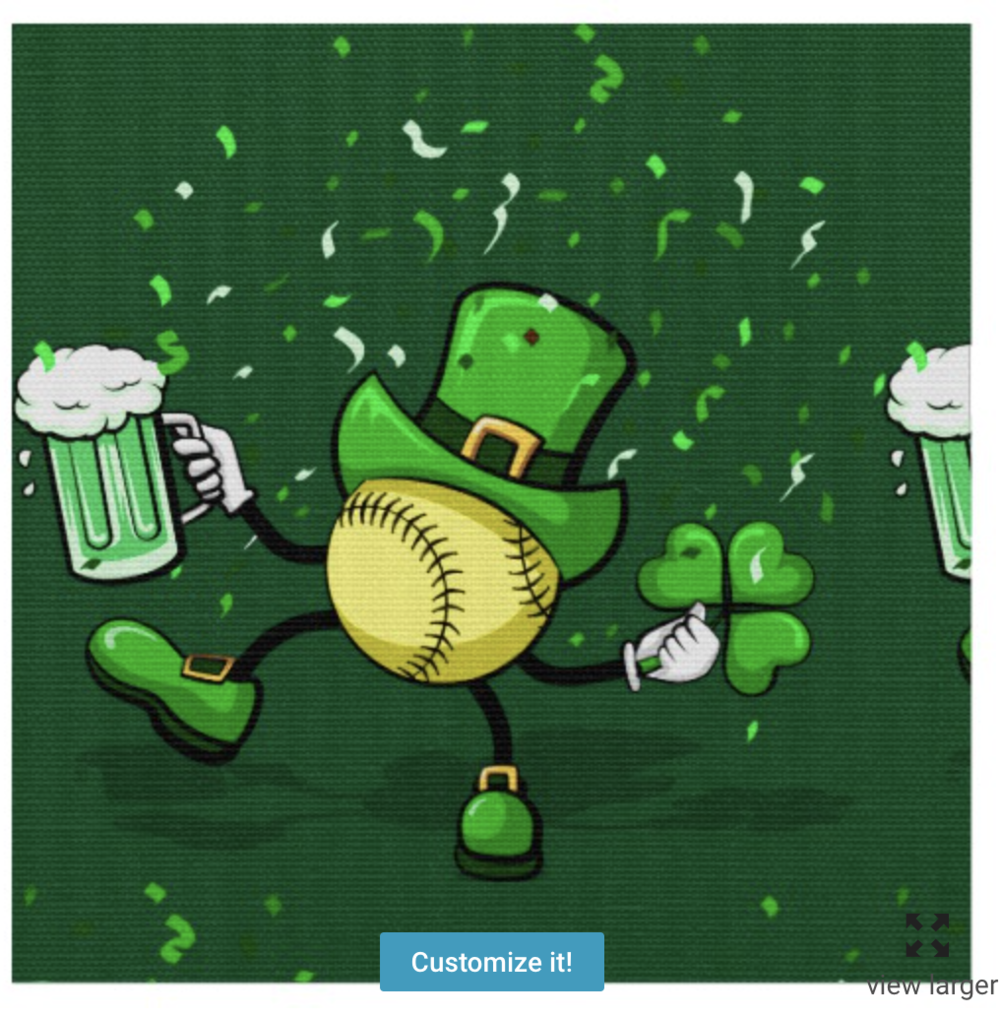 Softball Leprechaun Fabric Dark Green