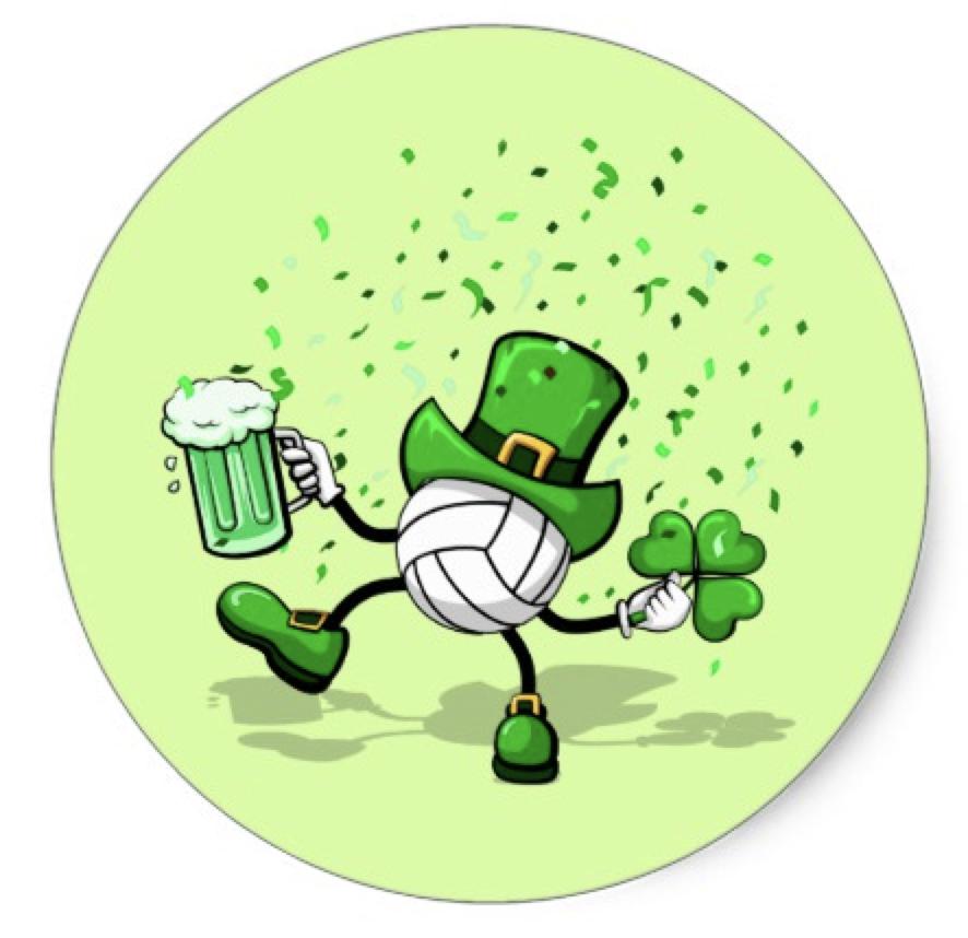 St. Patrick's Day Leprechaun Volleyball Classic Round Sticker