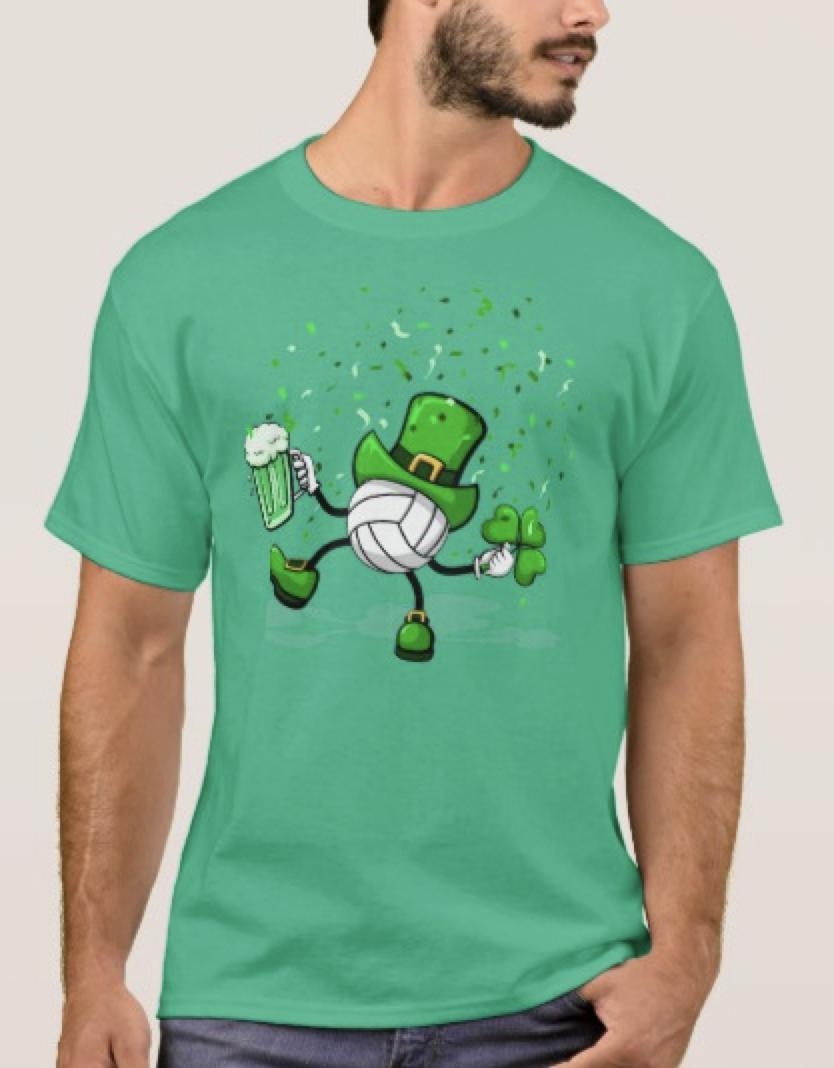 Dancing Leprechaun Volleyball T-Shirt