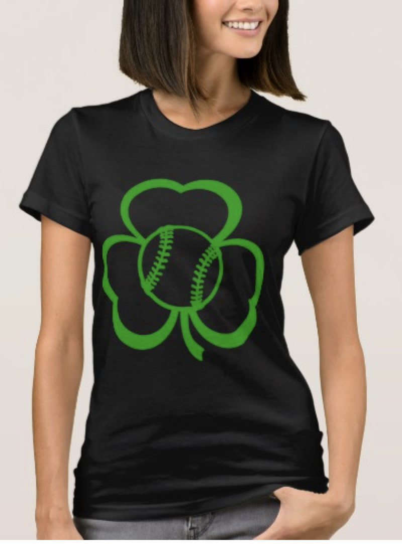 Baseball or Softball Three Leaf Clover for St. Pat T-Shirt