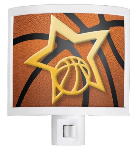 Basketball Star over Textured Basketball Night Light