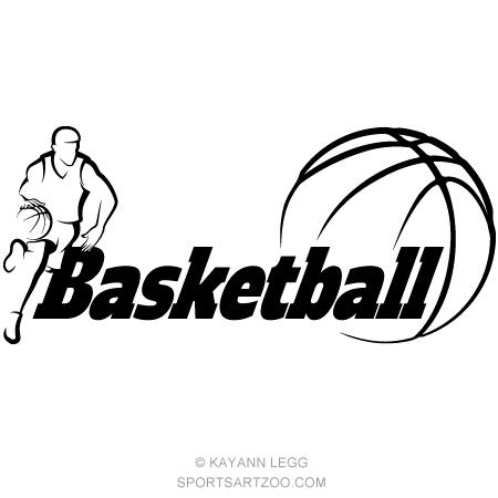 basketball dribbling with word basketball sportsartzoo