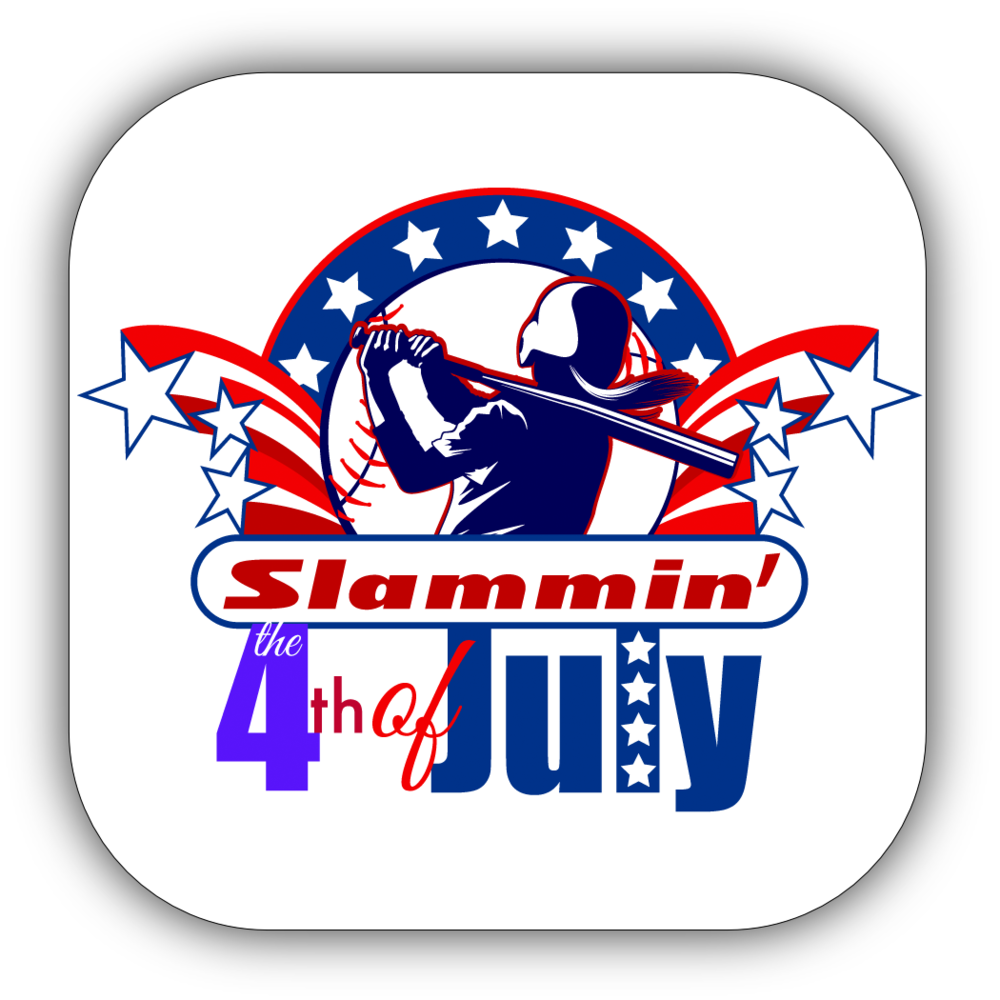 Softball 4th of July Stickers