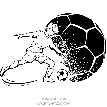 soccer boy kicking with grunge soccer ball background sportsartzoo