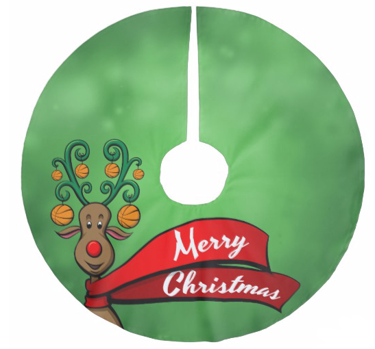 Basketball Christmas Reindeer Brushed Polyester Tree Skirt