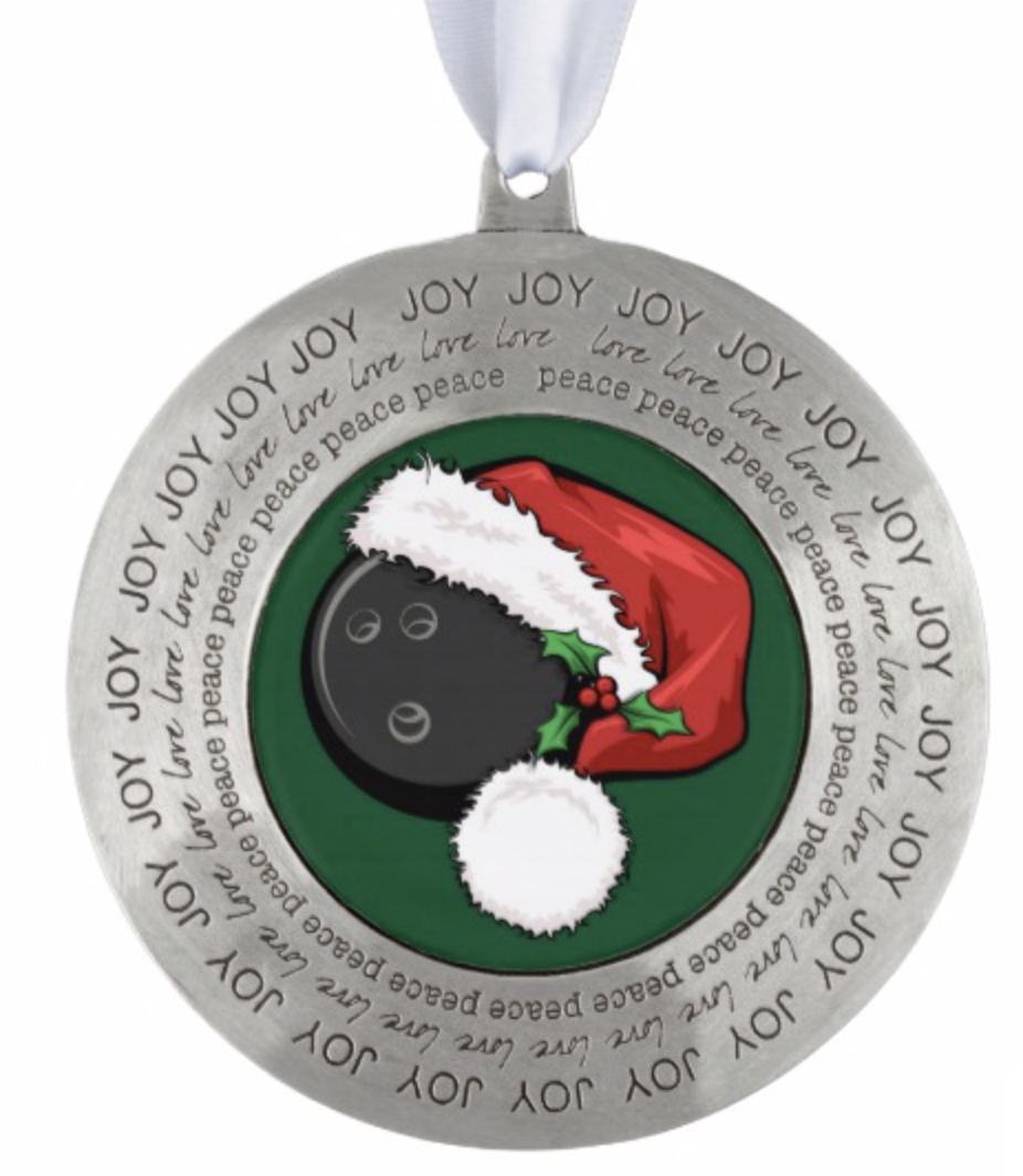 Christmas Bowling Santa Cap Ornament