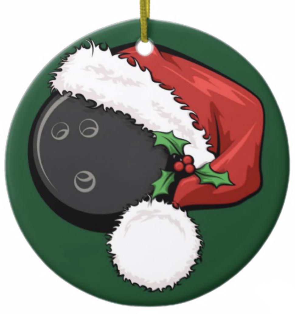 Bowling Santa Cap with Green Ornament