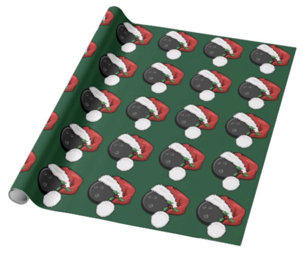 Bowling Santa Cap with Green Wrapping Paper