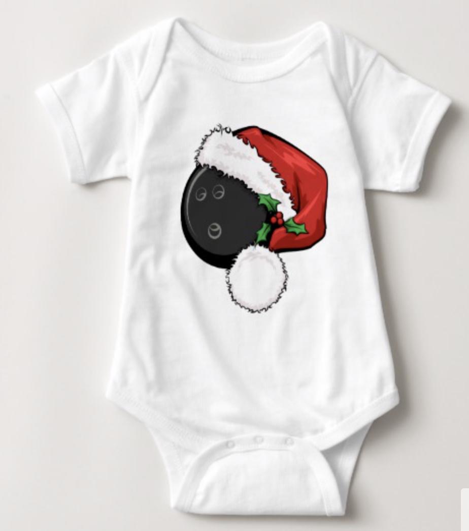 Bowling Ball Santa Cap Baby Bodysuit