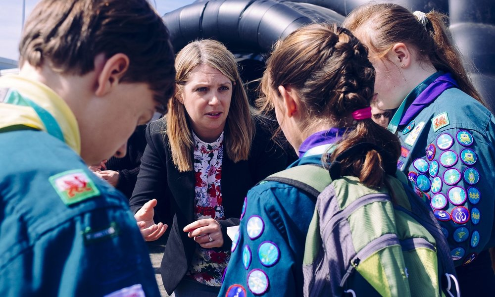 Scouts interviewing Hannah Blythyn Minster of Environment Wales.jpg