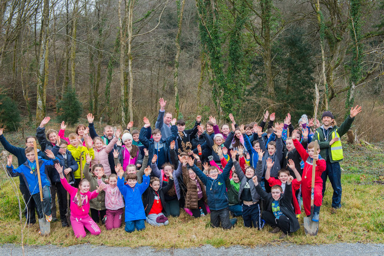 Students Planting for the Future During Tree Week March 2017 in Ireland