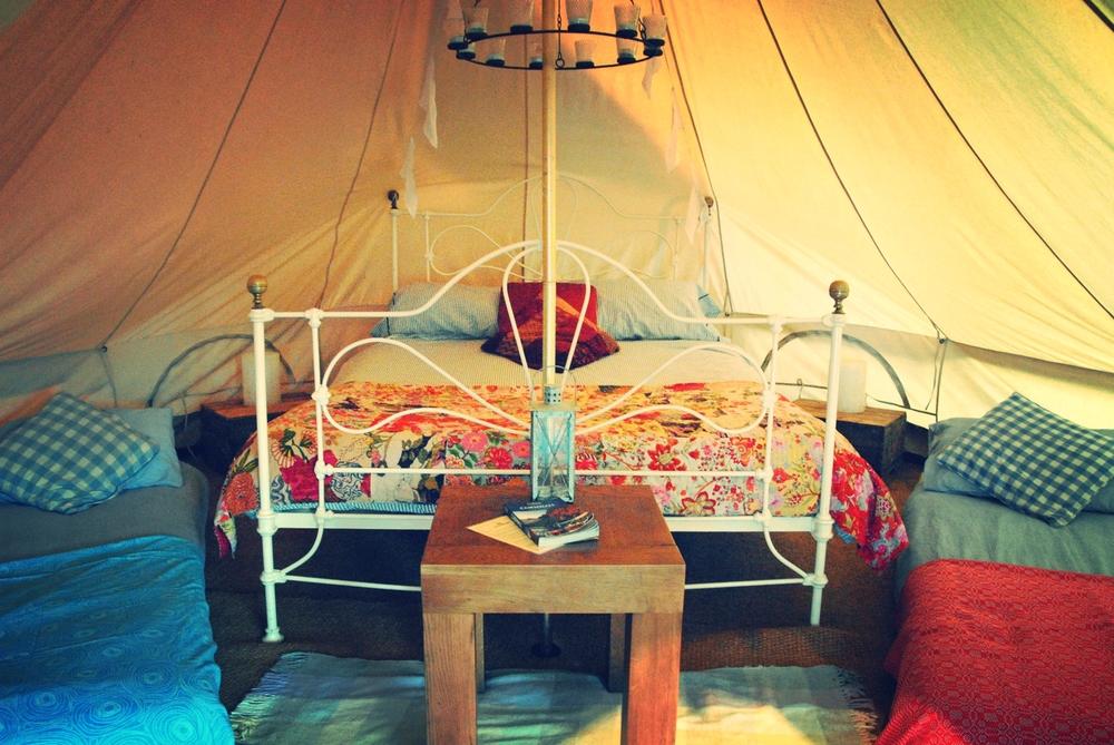 Luxury bell tent interior
