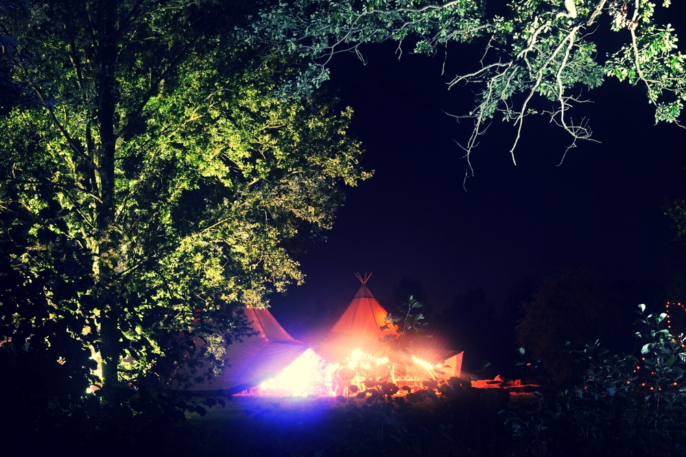 Lighting up the tipis and trees
