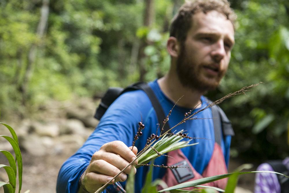 Jules Domine explicando a los toursitas el caracterio unico de ciertas plantas del Rio Samana, Felipe Mesa.jpg